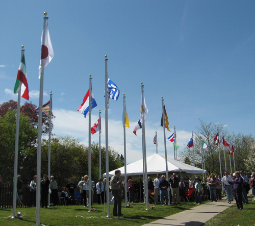 Flags of countries with International Peace Gardens at the Batavia 1812 garden dedication.