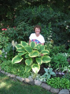 Marcia Sully among her huge hosta collection.