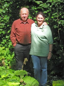 Mike and Kathy Shadrack in their garden.