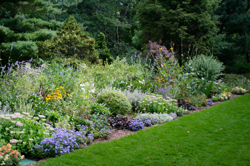 View of the newly restored sunny and shady borders, photo Jane Milliman