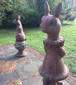 Rabbit lawn chess figures