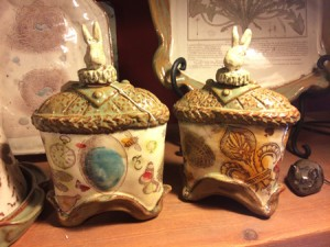 Ceramic bunny flasks